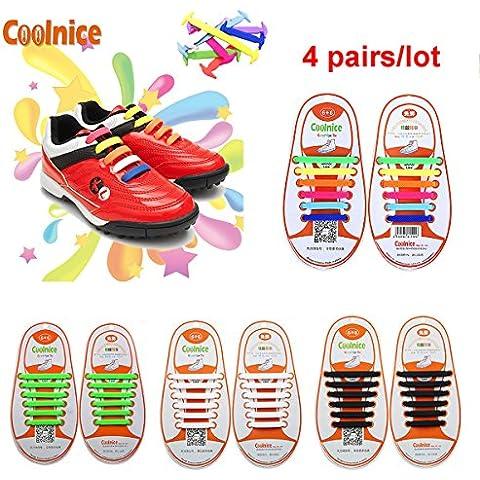 Coolnice® 4 pares para Niños cordones elásticos planos zapatillas de silicona impermeable ambientalmente seguro Limpiar DIY divertido 4 Color 4 X
