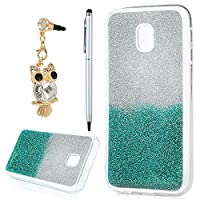 J3 Case 2017, YOKIRIN Luxury Bling Glitter Sparkle Designer Case Ultra Slim Fit Lightweight Shockproof Scratch Resistant TPU Gel Soft Thin Silicone Back Cover for Samsung Galaxy J3 2017, Sliver and Green