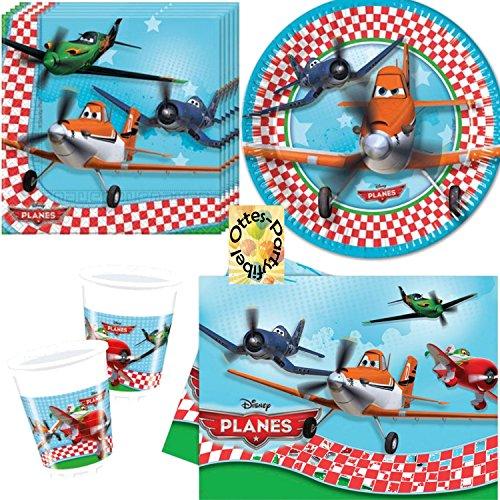 Planes Partyset Partygeschirr Geburtstag Becher Teller Servietten Tischdecke 53tlg. für 16 Kinder (Disney Planes Kunststoff Tischdecke)