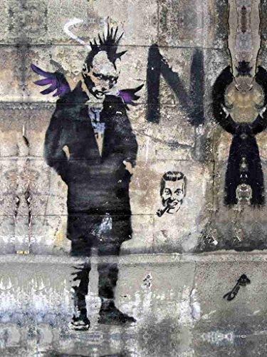 Banksy Bristol Graffiti Angel Punk A4 Sign Metal (Graffiti Punk)