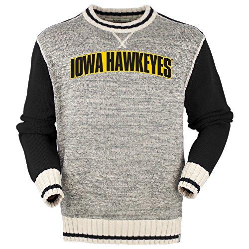 Bruzer NCAA Iowa Hawkeyes Herren Crew, Herren, solide, schwarz, X-Large Black Collegiate Crew Sweatshirt