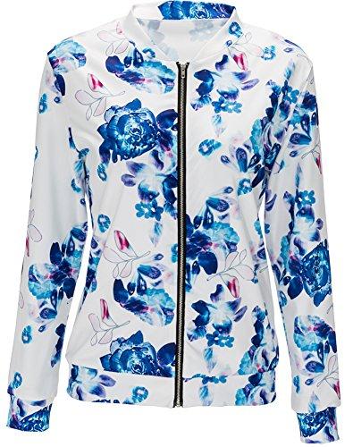Eudolah Damen Blazer Strickjacke sweatshirt mit Reissverschluss streetwear Fruehling Blau