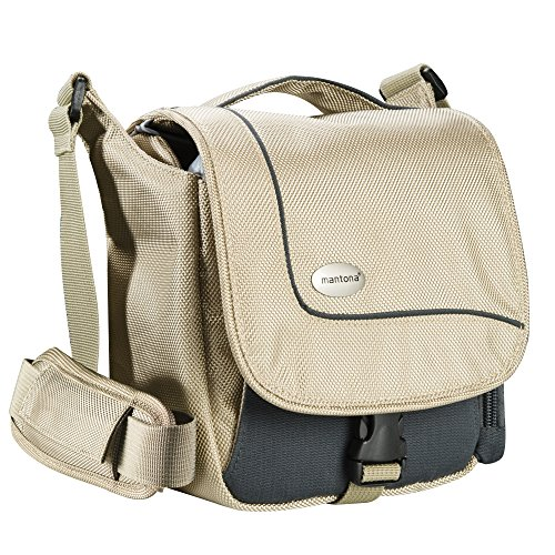 Mantona SportsBag SLR-Kameratasche sand (sportlich kompakte Umhängetasche) für Bridge Kameras und Micro SLR