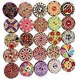 DDG edmms 100pcs redondo Scrap botón surtido de madera mixta decorativo madera botón de costura-Libro Bricolaje Decoración Ropa Botón artesanía costura de 20mm herramientas de bricolaje