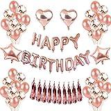 VOHONEY Or Rose Ballons Décorations Anniversaire Décorations Happy Birthday Anniversaire BannièRe DéCoration Anniversaire Confettis Ballons en Latex pour Enfants Adulte (Or Rose)