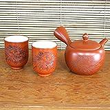 Yamakiikai Keramik orange kyūsu (Japanische Teekanne) & Japanisch Tee Becher-Set Yunomi Strauch-Pfingstrose f2853