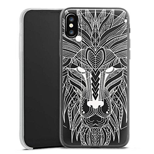 Apple iPhone 8 Plus Slim Case Silikon Hülle Schutzhülle Muster ohne Hintergrund Löwe loewe Silikon Slim Case transparent