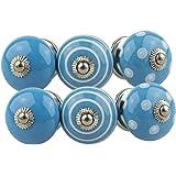 Keramiska möbelknoppar blandade set 6 st 081GN vitblå - handmålad porslin låda drar skåpknopp handtag - Jay Knopf