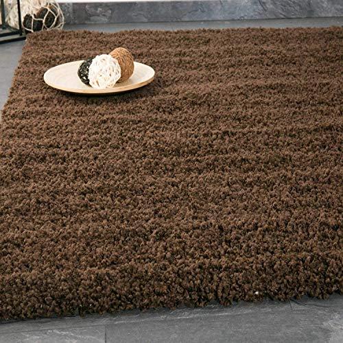 VIMODA Teppich Prime Shaggy Farbe Braun Hochflor Langflor Teppiche Modern für Wohnzimmer Schlafzimmer 70x140 cm (Braun Teppich)