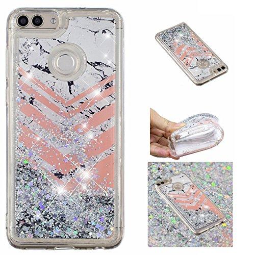 Shinyzone Glitzer Flüssigkeit Hülle für Huawei P Smart,Marmor kreativ 3D Gemalt Muster Handyhülle,Bling Treibsand Liebe Herz Fließend Weich TPU Schutzhülle für Huawei P Smart