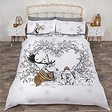 Weihnachten Winter Tiere Kranz gold Baumwollmischung Doppelbett Bettwäsche