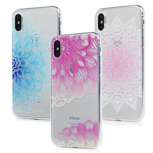 3x Cover iPhone X, Custodia Morbida Silicone TPU Flessibile Gomma - MAXFE.CO Case Ultra Sottile Cassa Protettiva per iPhone X - Modello 1 Modello 2