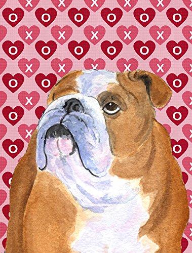 Caroline's Treasures BB8098GF Garten-Flagge, Straußenmotiv, Blau kariert, Größe Mehrfarbig Bulldogge, Englische Bulldogge #3 Garden Size Mehrfarbig (Bulldogge Englische Valentine)