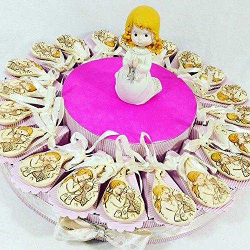 (20 bomboniere+centrale) bomboniere sacre comunione femmina statuetta bambina in preghiera e bimba centrale kkk