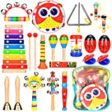 Elover Musical Instruments Toddlers 15 Types 20 PCS Wooden Percussion Instrument Toys Including