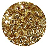 Bulk Pack of 100 Eyelets & Washers 5 mm Gold (Selection) Burnished Silver – Gold – for securing Leather Tents Clothing (Gold)