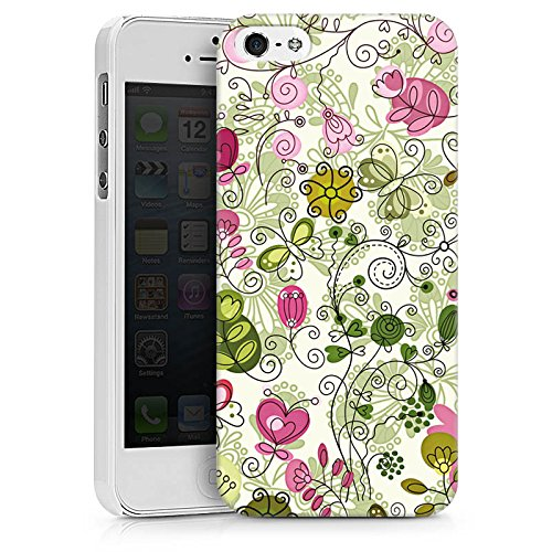 Apple iPhone X Silikon Hülle Case Schutzhülle Schmetterlinge Blumen Ranken Hard Case weiß