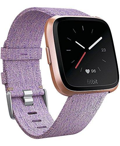 Omicton Armband für Fitbit Versa, geflochtenes Gewebe, mit Schnellverschluss, Uhrenarmband, Ersatzarmband mit Edelstahl-Schnalle für Fitbit Versa, Fitness Smart Watch, kohlefarben