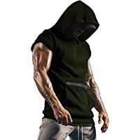 Men's Hooded Patchwork Vest Tank Tops Casual Sleeveless Sports T-Shirt Top