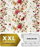Blumen Tapete Vliestapete Landhaus Tapete EDEM 907-06 XXL Floral hochwertige Textiloptik Weiß rot orange grün 10,65 qm