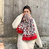 FeiFei156 Écharpe d'hiver épais surdimensionné Pashmina avec pompons Plaid rayé Couverture Châle Version Coréenne De La Châle géométrie Scarf chaud Écharpe chic (Color : Red-1, Size : 190 * 65cm)