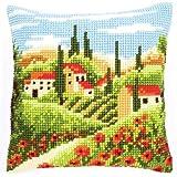 Vervaco - Fodera Anteriore da Cuscino, per Punto Croce, con Paesaggio di Campagna, Multicolore