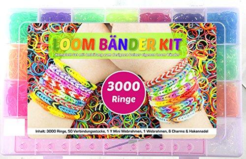 Loom Bands XXL Kit, 3000 teilig, 3000 Loom Bänder bunt, Neon, Glitzer, mit Häkelnadel, Finger Mini Webrahmen und großer Webstuhl für perfekte Ergebnisse, Loom Bands, Loom Bänder, Loomarmbandset