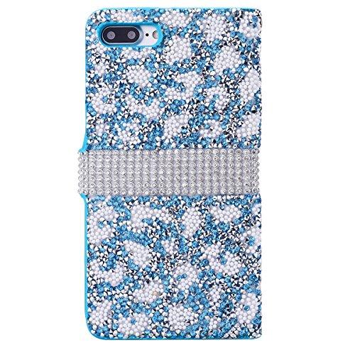 iPhone 7 Hülle, Yokata Flip Luxury PU Leder Luxus Lederhülle Case Bling Glizter Design Diamant Backcover Cover Bookstyle mit Standfunktion und Magnetverschluß Tasche Schutzhülle + 1x Kapazitive Feder Blau