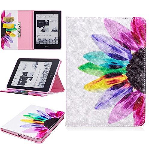 ge Hülle PU Leder Tasche Schutzhülle Cover Case Wallet Brieftasche Stand für Kindle Voyage - Sonnenblume ()