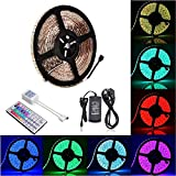 BOHAO Led Strip Light Waterproof 300 leds 16.4ft 5m Waterproof Flexible Color Changing RGB SMD 5050 300leds LED Strip Light Kit with 44 Keys IR Remote Controller and 12V 5A Power Supply