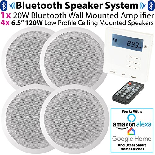 "SMART HOME WALL AMP & 4x CEILING SPEAKER KIT – 4x 6.5"" 120W Low Profile Ceiling Speaker & Mini Wall Mounted Bluetooth Amplifier *WORKS WITH ECHO / ALEXA* - Stereo HiFi Kitchen Accessories Kit – Mini Wireless Amp With FM Receiver - Home Music Audio System"