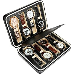 H&S 8 Watch Jewellery Display Storage Travel Box Case Organiser Black Faux Leather Mens Womens Ladies