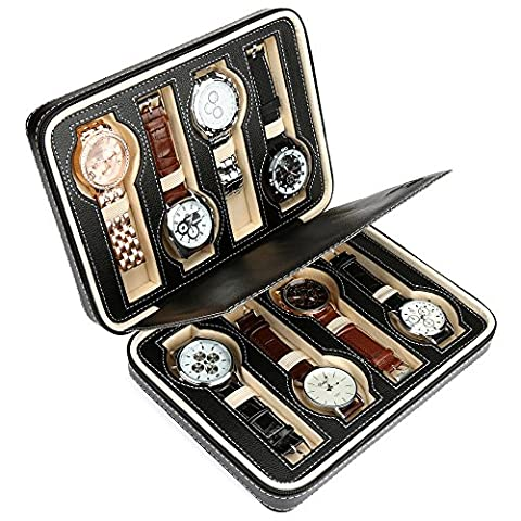 H&S 8 Watch Jewellery Display Storage Travel Box Case Organiser Black Faux Leather Mens Womens Ladies