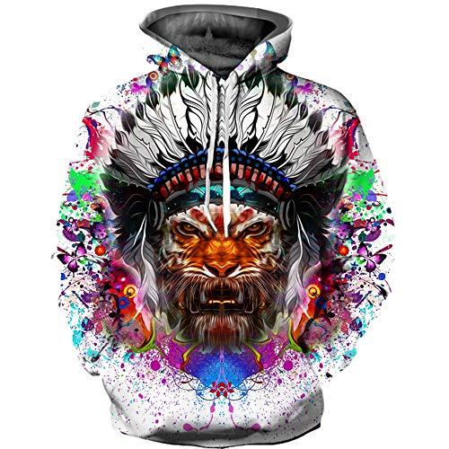 WYCXY Männer Hoodie Print Native American Indian Tiger Zusammenfassung Lustiges Sweatshirt für Männer Loose Fit Frühling Kleidung Harajuku Hoody (Native Für American-kleidung Männer)