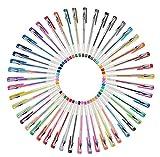 creyart Gel Penne a Inchiostro Gel penna set con 60in Nero, Glitter, metallico, Vortice e neon colori–perfetta per colorare, scrivere e progetti artistici