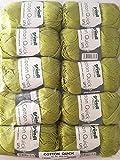 Gründl Cotton Quick Uni, Vorteilspack 10 Knäuel, hellolive Handstrickgarn, Baumwolle, 29 x 12 x 7 cm