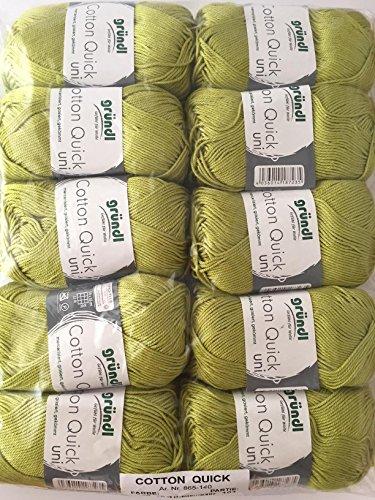 Gründl cotton quick uni, confezione risparmio 10knaeuel gomitolo a mano, cotone, olive chiaro, 29x 12x 7cm