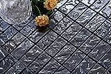 10cm x 10xm Muster. Glas Mosaik Fliesen Muster in Schwarz Texturiert Lava Baustein Effekt (MT0120 Muster)