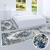 Bettumrandung, Teppich-Läufer Flachflor mit Klassischen Design, Ornamenten-Muster in Grau/Blau für Schlafzimmer, 3-teilig, Läufer-Größen: 2x 80x150 cm, 1x 80x300 cm