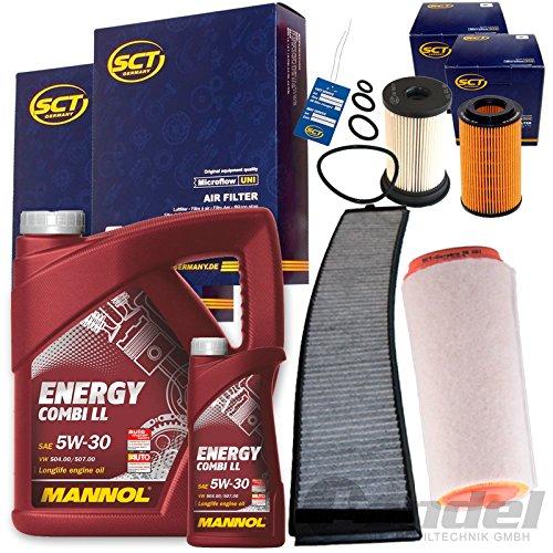 SCT Filter Set Inspektions Paket 1x 6L Mannol Energy Combi ll 5W30 1 Luftfilter 1 Kraftstofffilter 1 Filter, Innenraumluft 1 Oelfilter 1 Oelwechselanhaenger
