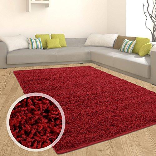 Teppich Shaggy Hochflor Langflor Flokati Einfarbig/ Uni aus Polypropylen in Rot/ Bordeaux für Wohn- und Schlafzimmer, Größe: 160 x 220 cm