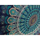 Indian Mandala Wall Hanging Tapestry, Hippie Hippy Tapestries, Feather Peacock Print Tapestry, Cotton Handmade...