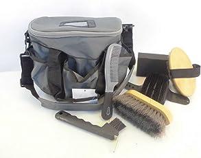 ARNDT Putztasche Pferdeputztasche Tasche gefüllt mit Putzzeug grau Pferdeputzset
