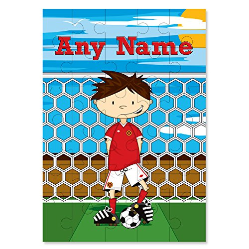 Little Giant Kids Personalised Red Football Wooden 30 Piece Jigsaw Puzzle