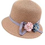Anself Kids Girl Summer Sun Straw Hat Flower Adjustable Dome Panama Beach Holiday Cap