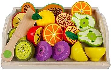 Küchenspielzeug Holz Früchten mit Magnet, 24x19cm, 19-tlg., Schneideobst aus Holz Obst Gemüse Spielzeug Lebensmittel Küche Kinder ädagogisches Lernen Spielzeug, Rollenspiel Lernspielzeug für Kinder
