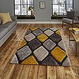 Multi mit 3d-Effekt, Designer-Stil, getuftet Teppich, Grey/Yellow, 150 x 230 Cm