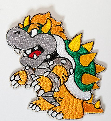 Premier Patches Bowser Patch Embroidered Iron on Badge Aufnäher Kostüm Cosplay Mario Kart/SNES/Mario World/Super Mario Brothers/Mario Allstars