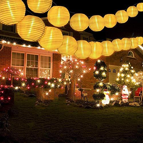 ns Lichterkette Außen 6 Meter 30 LED Lampions 2 Modi IP 65 Wasserdicht Solar Beleuchtung Aussen für Garten, Hof, Balkon, Hochzeit, Fest Deko (Warmweiß) ()