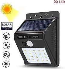 Piqancy LED Waterproof Out Door Solar Light with Motion Sensor, Auto Saving Mode, 20 LED Wall Light for Street Garden etc. Night Light